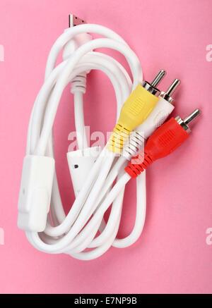 Audio Video Cord Plug-and-Sockets - Stock Photo