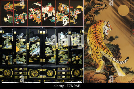 Pingyao. 20th Sep, 2014. The combined photo taken on Sept. 20, 2014 shows pieces of lacquerware in Pingyao, north - Stock Photo