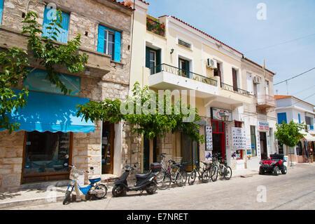 Logotheti main street, Pythagoreio, Samos island, the Dodecanese islands, Greece, Europe - Stock Photo
