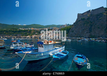 Italy, Europe, Calabria, outside, day, nobody, Scilla, Costa viola, Mediterranean Sea, sea, fishing harbour, harbour, - Stock Photo