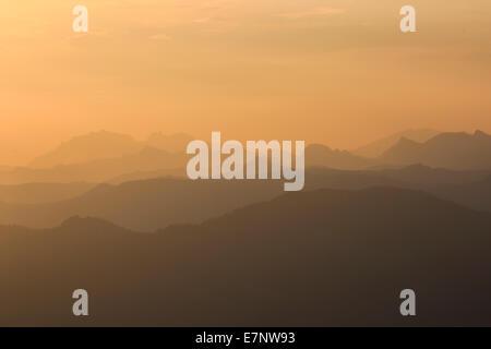 Alps, rising, view, view from Pilatus, mountain, mountain panorama, mountains, mist, background, morning, panorama, - Stock Photo