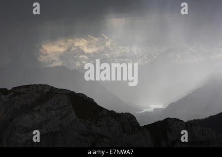 Alps, view, view from Pilatus, mountain, mountain panorama, mountains, Bernese Alps, mountains, thunderstorms, thunderstorm - Stock Photo