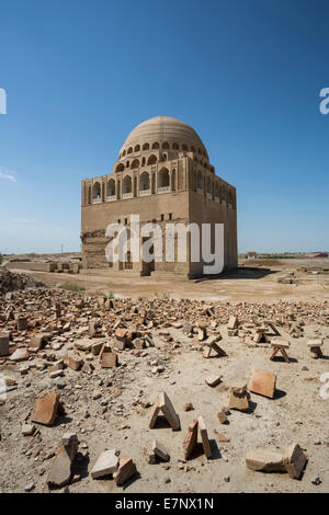 Ancient, Mausoleum, Merv, Sultan Sanjar, Turkmenistan, Central Asia, Asia, archaeology, architecture, city, culture, - Stock Photo