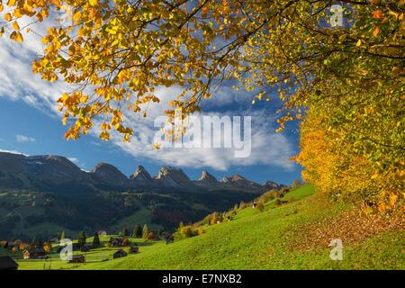 Toggenburg, Unterwasser, SG, Churfirsten, mountain, mountains, autumn, reflection, SG, canton St. Gallen, Switzerland, - Stock Photo