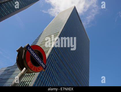 London Underground Station Sign and Office Buildings, Bank Street, Canary Wharf, London, UK. - Stock Photo