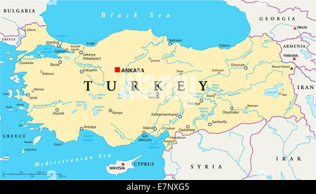 Turkey Political Map with capital Ankara, national borders, most important cities, rivers and lakes. English labeling, - Stock Photo