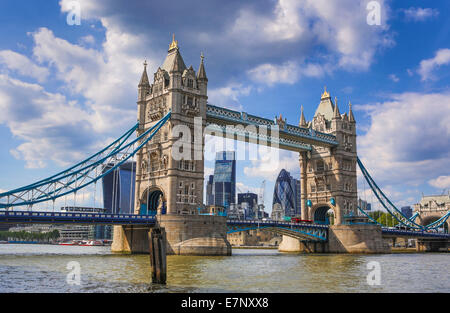 City, London, England, UK, architecture, bridge, famous, skyline, Thames, river, tourism, travel, Tower Bridge, - Stock Photo