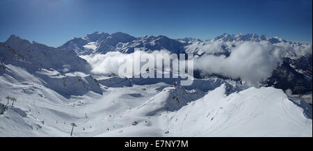 Winter, skiing area, Verbier, Grand Combin, winter, canton, VS, Valais, mountain, mountains, ski, skiing, Carving, - Stock Photo