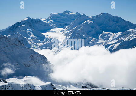 Winter, Grand Combin, winter, canton, VS, Valais, mountain, mountains, Switzerland, Europe, - Stock Photo