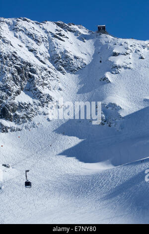 Mont fort, ropeway, cable railway, Mont fort, Verbier, winter, canton, VS, Valais, mountain, mountains, mountain - Stock Photo