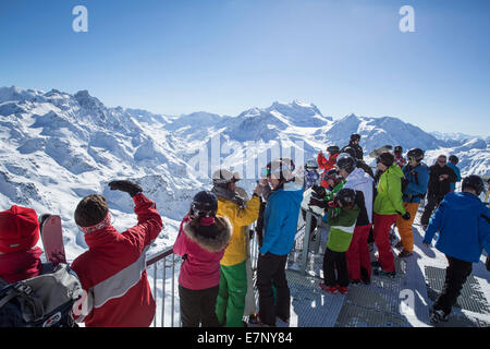 Mont fort, view, Mont fort, Grand Combin, winter, canton, VS, Valais, mountain, mountains, mountain road, Switzerland, - Stock Photo