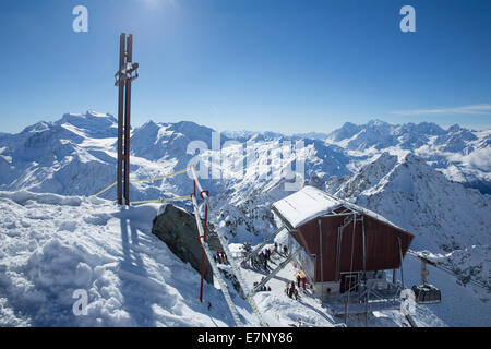 Mont fort, ropeway, cable railway, Mont fort, Verbier, view, Grand Combin, Montblanc, winter, canton, VS, Valais, - Stock Photo