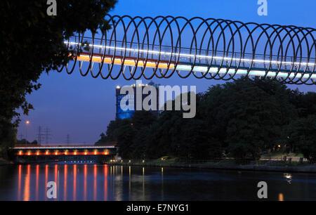 Germany, Europe, Oberhausen, Ruhr area, Lower Rhine, Rhineland, North Rhine-Westphalia, bridge, at night, - Stock Photo