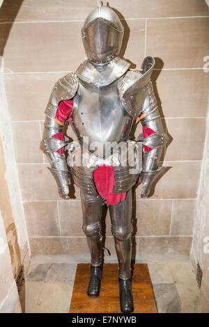 England, Europe, Warwickshire, Warwick, Warwick Castle, Display of Armour - Stock Photo