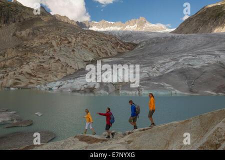 Gletsch VS, walking, hiking, Rhone glacier, Furka Pass, canton, VS, Valais, footpath, walking, hiking, glacier, - Stock Photo
