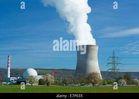 KKW, nuclear power plant, Leibstadt, Atomkraftwerk, Rhine, spring, canton, AG, Aargau, energy nuclear energy, Switzerland, - Stock Photo