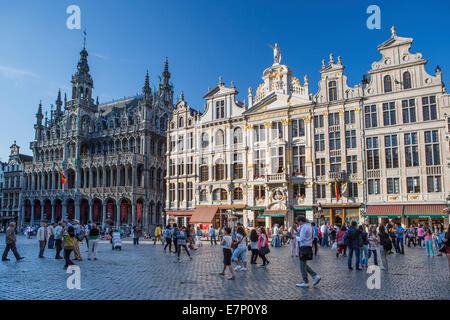 Belgium, Europe, Brussels, Grand Place, world heritage, cafe, architecture, city, famous, history, skyline, square, - Stock Photo