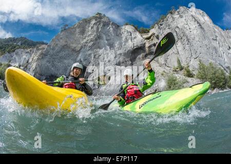 Rhine gulch, water sport, Versam, GR, river, flow, body of water, water, gulch, canton, GR, Graubünden, Grisons, - Stock Photo