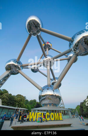 Atomium, spheres, Belgium, Europe, Brussels, architecture, balls, city, expo, famous, touristic, travel, welcome - Stock Photo