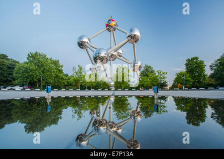 Atomium, spheres, Belgium, Europe, Brussels, architecture, balls, city, expo, famous, reflection, spring, evening, - Stock Photo