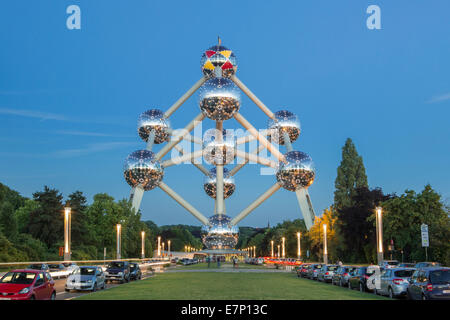 Atomium, spheres, Belgium, Europe, Brussels, architecture, balls, city, expo, famous, spring, evening, touristic, - Stock Photo