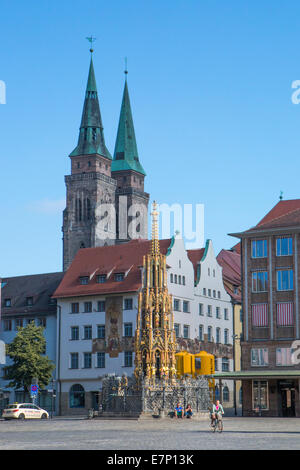 Brunnen, Germany, Europe, Nuremberg, Schöner Brunnen, beautiful fountain, architecture, city, colourful, downtown, - Stock Photo