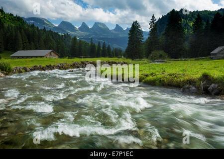 Toggenburg, Aelpli, Unterwasser, Churfirsten, river, flow, body of water, water, SG, canton St. Gallen, Thur, Switzerland, - Stock Photo