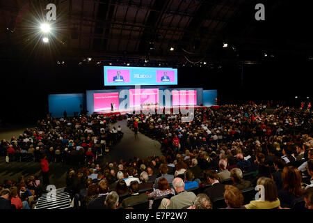 Manchester, UK. 22nd  September, 2014.  A general view of the auditorium, as Ed Balls, Shadow Chancellor of the - Stock Photo