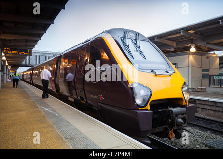 Class 221 131 Super Voyager  East Midlands, Crosscountry commuter train at  Derby Railway Station, Derbyshire, UK - Stock Photo