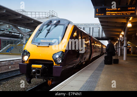 Class 221 121 Super Voyager to Cardiff  East Midlands, Crosscountry commuter train at  Derby Railway Station, Derbyshire, - Stock Photo
