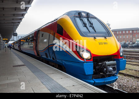 Class 222 001 to London St Pancras at East Midlands, Crosscountry commuter train at  Derby Railway Station, Derbyshire, - Stock Photo