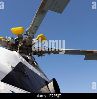 civil helicopter engine mechanism detail. part of copter propeller - Stock Photo
