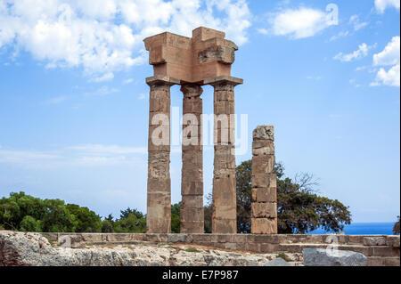 acropolis rhodes, Ruins of ancient temple - Stock Photo