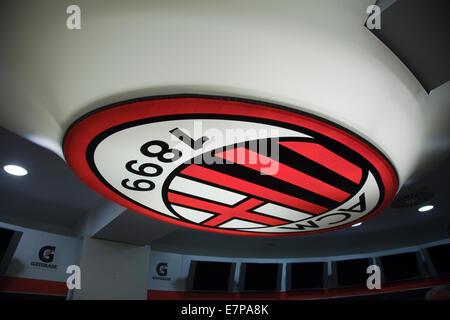 Lampada dello spogliatoio del Milan a San Siro, Lamp in the dressing room of AC Milan at the San Siro - Stock Photo