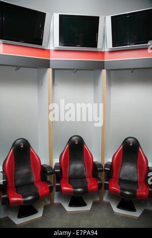 spogliatoio del Milan nello stadio di San Siro a Milano, locker room of the team of AC Milan in the San Siro stadium - Stock Photo