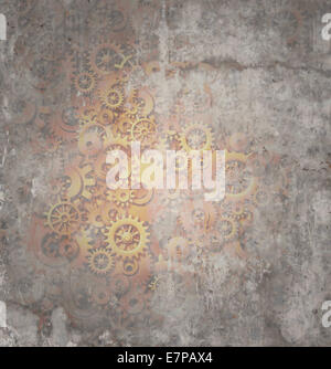 Steampunk grunge background as a rustic texture science fiction concept made of dirty metal copper gears and cogs - Stock Photo
