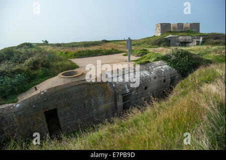 Bunker and concrete emplacement for German Second World War Two Mammut radar at Cap Fagnet, Fécamp, Normandy, France - Stock Photo