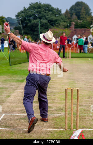 Hit The Wicket (A Traditional Game) Being Played, Hartfield Village Fete, Sussex, England - Stock Photo