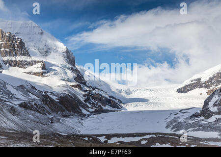 View of the Columbia Icefield, on the Icefields Parkway, Jasper National Park, Alberta, Canada, North America. - Stock Photo