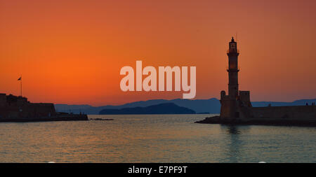 Sunset - Lighthouse Chania Crete - Stock Photo
