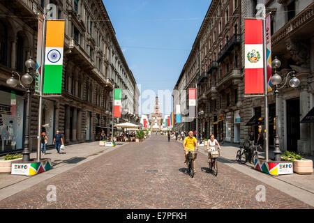 Milano, Milan, Expo 2015, travel,  Fair, , Universal, Exposition, castle Sforzesco,  city, town, gate, infopoint, - Stock Photo