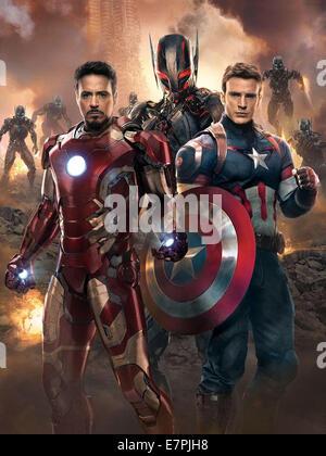 AVENGERS: AGE OF ULTRON 2014 Walt Disney Studios film with from left: Robert Downey Jr, Chris Hemsworth and Chris - Stock Photo