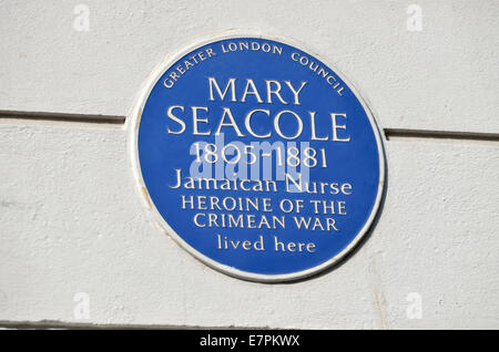 London, England, UK. Blue Plaque: 'Mary Seacole 1805-1881 Jamaican Nurse, heroine of the Crimean War lived here' - Stock Photo
