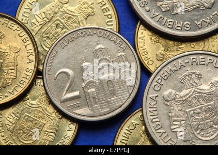 Coins of Serbia. Gracanica monastery in Kosovo depicted in the Serbian two dinars coin. - Stock Photo