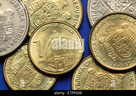 Coins of Serbia. The building of the National Bank of Serbia in Belgrade depicted in  the Serbian one dinar coin. - Stock Photo