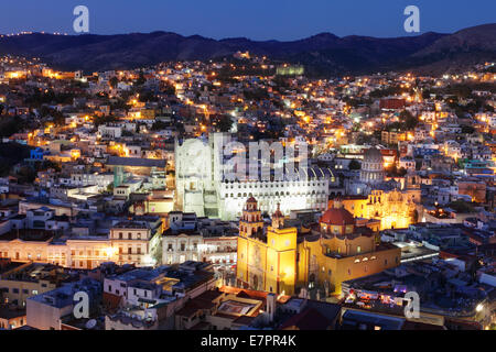 Cathedral and University at Dusk in Guanajuato, Mexico. - Stock Photo