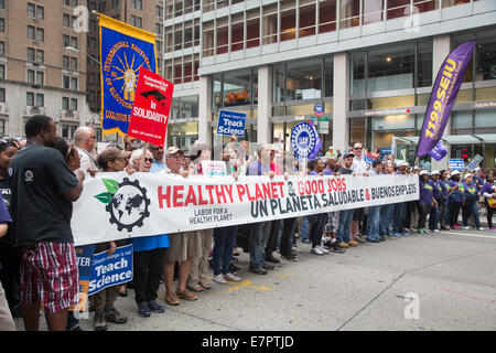 New York, New York USA - 21 September 2014 - Members of labor unions joined hundreds of thousands in the 'People's - Stock Photo