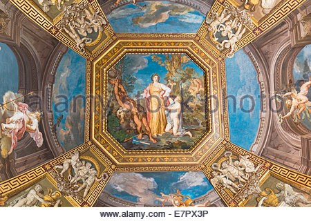 Ceiling of the Sala delle Muse showing stories of Apollo and the Muses by Tommaso Conca in Vatican Museums, Vatican - Stock Photo