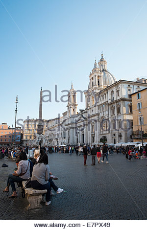 Sant'Agnese in Agone Church in Piazza Navona, Rome, Italy - Stock Photo