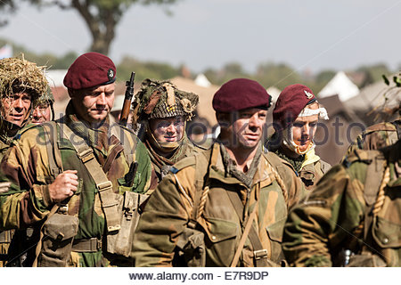 World War Two Re-enactment.  Paratroopers Marching - Stock Photo